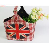 Buy cheap Fancy UK Flag Pu Leather Storage Basket with UK Flag Pattern Circular Fabric Storage Bag Home Decoration Basket from wholesalers