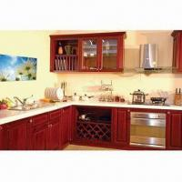 Buy cheap Kitchen Cabinet with Golden Teak with 5/8-inch Plywood Adjustable Shelves and Up and Bottom Panel from wholesalers