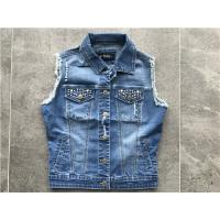 Buy cheap Medium Wash Denim Jacket , Embellished Denim Jacket Sleeveless TW71813 from wholesalers