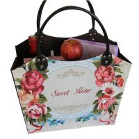 Buy cheap Sweet Rose Pu Leather Log Basket Wine Fruit Book Comestic Laundry Storage Shopping Basket for Wholesale from wholesalers