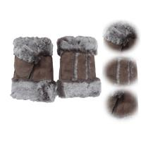 Buy cheap Stock Ladies Lambskin Gloves with Curly Fur Trim Cuff Shealring Sheepskin Fingerless Gloves from wholesalers