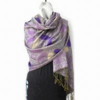 Wholesale Paisley Style Scarf, Made of 55% Acrylic and 45% Viscose, Measures 178 x 68 + 10 x 2cm from china suppliers