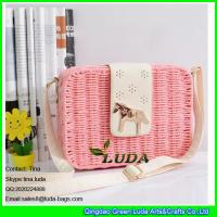 Buy cheap LDTT-014 light pink straw bags for girls, fashion rattan handbags with metalic horse from wholesalers