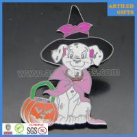 Buy cheap Halloween souvenir pumpkin lantern with puppy dog enamel lapel pin badge from wholesalers