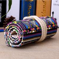 Buy cheap Roll - Up Canvas Student Pencil Pouches , Pencil Roll Case Cotton Rope Closure from wholesalers
