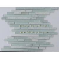 Buy cheap Strip White Marble Mix Green Glass Mosaic Canada Hit product