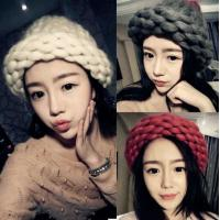 Buy cheap Autumn and winter Korean fashion hand knitting wool hat lady thick line bar twist fashion warm wool hat from wholesalers