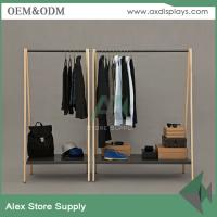 Buy cheap High end black clothes shelf display men clothing display rack showcase interior wooden table steel rack from wholesalers