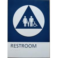 Buy cheap Straight Edge ADA Restroom Signs California Title 24 Unisex Restroom Sign With Blue / White Color from wholesalers