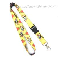 Buy cheap CMYK full color print polyester neck lanyard with ABS plastic buckle and metal clasp hook, from wholesalers