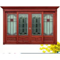 Buy cheap Red  Carve patterns solid Wooden Automatic telescoping sliding doors from wholesalers