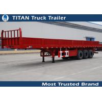 Buy cheap 50 Tons tri-axle 40ft heavy duty flatbed trailers with high boards from wholesalers