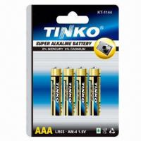 Buy cheap Alkaline Batteries, Size AAA 1.5V with Aluminum Foil Jacket, CE, MSDS and SGS Marks from wholesalers