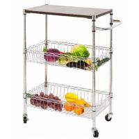 Buy cheap NSF Restaurant Kitchen Use 3 Layers Wire Utility Cart Basket , Rolling Kitchen Utility Cart from wholesalers