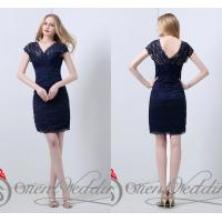 Sexy Sheath V Neck Lace Ladies Party Dresses Sheer Beads Short for summer Manufactures