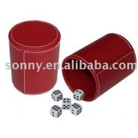 Buy cheap Dice Set with A Leather Cup in Red Color from wholesalers