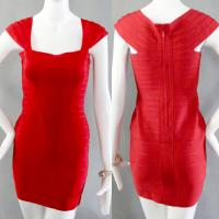 Buy cheap wedding wear sexy ladies red unique design short bandage bridesmaid dress from wholesalers