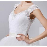 Sexy V Neck Beaded Lace Ladies Wedding Dresses with long trains / Rhinestone , white