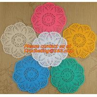 Buy cheap Crochet dinner table mat fabric doilies cup pot pad lace doily, Handmade Crochet Tablecloth, Doily from wholesalers