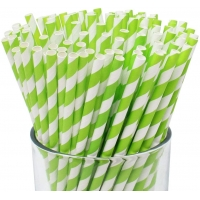 Buy cheap Multi Colored Holiday Celebrations Green Striped Paper Straws Biodegradable from wholesalers