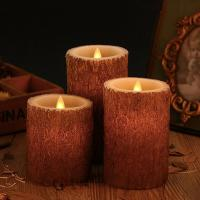 Buy cheap Set Of 3 Bark Simulation Pillar Flameless Led Candles With 10 Key Remote And Cycling 24 Hours Timer from wholesalers