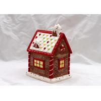 Buy cheap Cubby Design Ceramic Cookie Jar Dolomite Red Christmas Decoration Food Jar With Lid from wholesalers