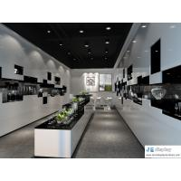 Buy cheap Glass arts and crafts store display cabinet by white wood panel and black marble counters from wholesalers