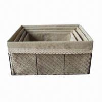 Buy cheap Willow Flower Baskets/Box with Metal Frame, OEM Orders are Welcome, Various Styles are Available from wholesalers