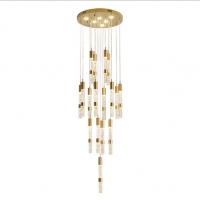 Buy cheap LED 3W gold aluminium linear shape simple building rotating stair crystal pendant light from wholesalers