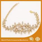 Buy cheap Gold Custom Metal Bracelets With White Zircon Charm Bracelets For Girls from wholesalers
