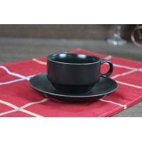 Wholesale Coffee Tea Black Ceramic Cup With Saucer Handle Weight 190g Custom Decal from china suppliers