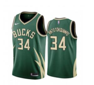 Wholesale Mens Milwaukee Bucks #34 Giannis Antetokounmpo Stitched Green 2021 Earned Edition Swingman Jersey from china suppliers