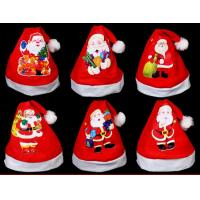 Red Christmas Hat For Gift Plush Hat  For Christmas Party,Printing Santa Claus Manufactures