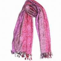 Buy cheap Cashmere-like Scarf, Customized Specifications are Accepted, Measures 67x178cm+10x2cm from wholesalers