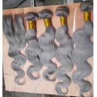 Buy cheap Mongolian Bouncy Body Wave Wholesale Products Gray Hair Colored Remy Hair Extension from wholesalers