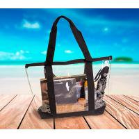 Buy cheap Full Zipper Closure PVC Travel & Gym Zippered Tote Bag with Transparent Front Pocket and Sturdy handles from wholesalers