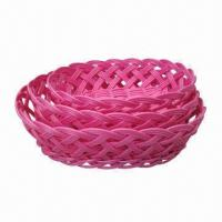 Buy cheap Oval Storage Basket in Pink, Made of Plastic Rattan, Used for Packing and Storage from wholesalers