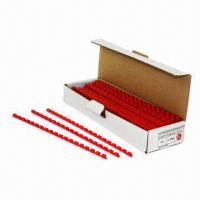 Buy cheap Plastic binding elements, 21 rings, measures 6mm, available in red, 100 pieces product