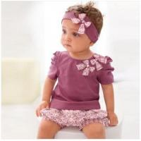 Buy cheap Baby Clothes cotton Baby Clothing Set beautiful kids cute outfit baby wear headband pants from wholesalers