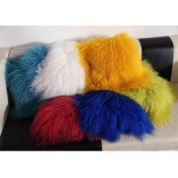 China Red / Blue 18 Inch Long Sheep Fur Pillow , Mongolian Fur Outdoor Throw Pillows  on sale