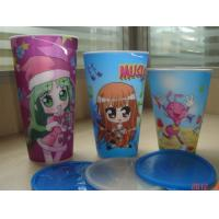 Buy cheap PLASTIC LENTICULAR 350 ml cartoon flip lenticular printing coffee 3d lenticular drink plastic cup with straw from wholesalers