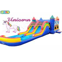 Buy cheap Backyard Unicorn Inflatable Bouncer And Slide , Double Slide Bounce House from wholesalers