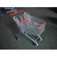 Europe Style 100L Supermarket Shopping Carts With clear lacquer and 4 swivel flat casters Manufactures