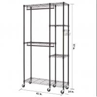Buy cheap Wire Clothes Portable Wardrobe Closet With Heavy - Duty Wheels And 3 Shelves from wholesalers