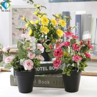 Wholesale Small Artificial Green Plants , 28cm Height Plastic Bonsai Rose Plant from china suppliers