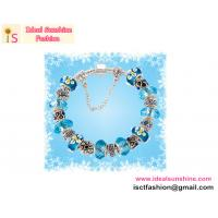 Buy cheap 925 sterling Silver charm  European beads Bracelet beads jewelry blue beads with flower from wholesalers