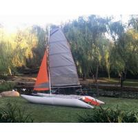 Two Sails Custom Pontoon Boats For Enjoy , 450 Cm Portable Catamaran Sailboat Manufactures