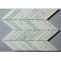 Buy cheap Ming Green Stone Mosaic Floor Tile Chevron Shape Mosaics 4 Chips from wholesalers