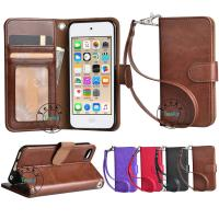 Buy cheap pu leather wallet case for ipod touch 6 with wrist strap,OEM and ODM welcome from wholesalers