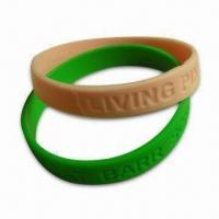Wholesale Soft PVC Bracelet with Debossed and Embossed Effect, Customized Designs and Sizes are Accepted from china suppliers